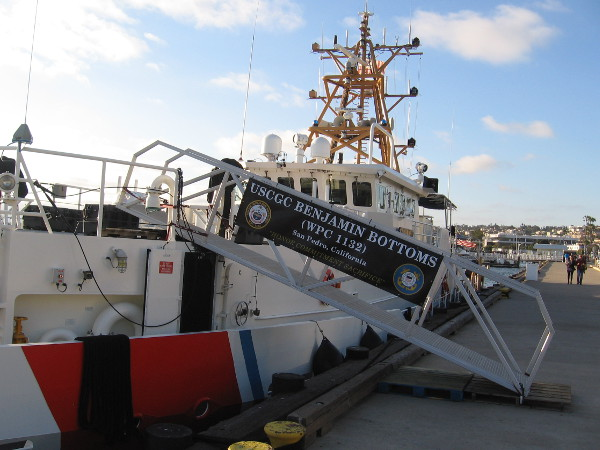 The new Coast Guard vessel USCGC Benjamin Bottoms will soon be commissioned. The public can tour the Sentinel-class cutter tomorrow on San Diego's Embarcadero, just north of the Maritime Museum.