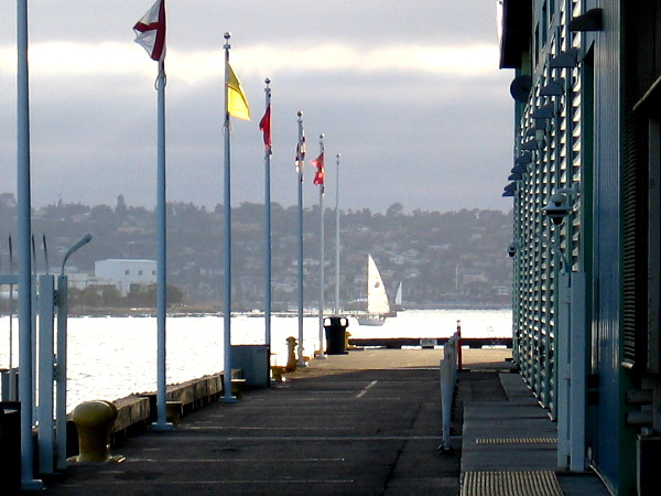 Flags and a sail illuminated by late light.