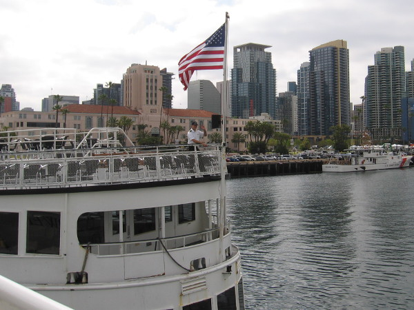 As we waited to begin our cruise, the Admiral Hornblower left the dock and headed out onto the bay.