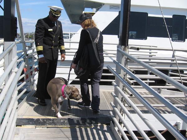 Passengers disem-bark after a wonderful one hour cruise.