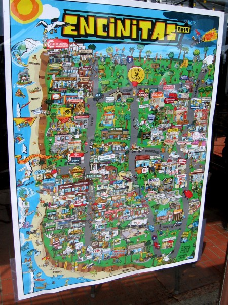 I spotted a fun map of Encinitas in a shop window. It illustrates many landmarks and local businesses in this awesome beach city.