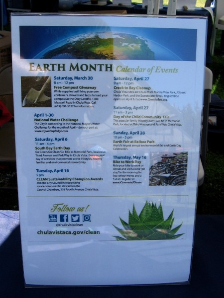 Earth Month Calendar of Events for the City of Chula Vista, which includes volunteer opportunities like the Creek to Bay Cleanup.