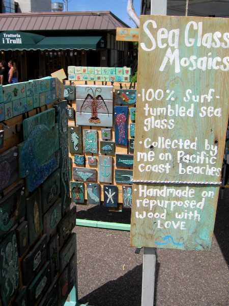 Her sea glass mosaics are created from surf tumbled sea glass collected on the beach!