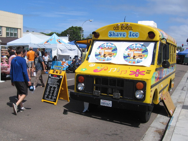 The yellow Old School Shave Ice school bus has arrived!
