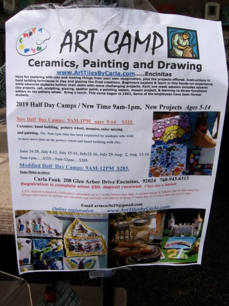 Carla Funk offers Art Camp in Encinitas, featuring classes in ceramics, painting and drawing. Her website is ArtTilesByCarla.com