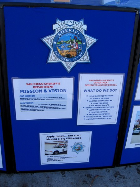 Officers of the San Diego Sheriff's Department Senior Volunteer Patrol told me they need volunteers. You can serve your community and meet cool friends!