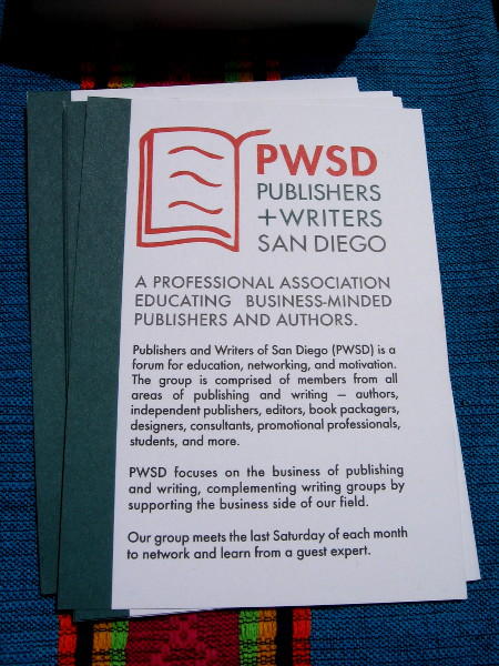 Here's some info concerning PWSD, Publishers and Writers San Diego.