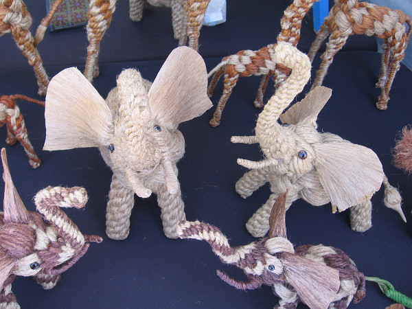 These amazing rope animals were made by an outstanding artist in Thailand named Nong.