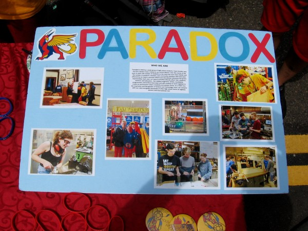 Team Paradox is a group of local high school students who build robots. They compete with other high school teams around California, the United States and the world!