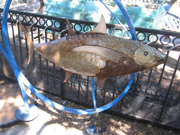 This kinetic fish sculpture is popular with kids.