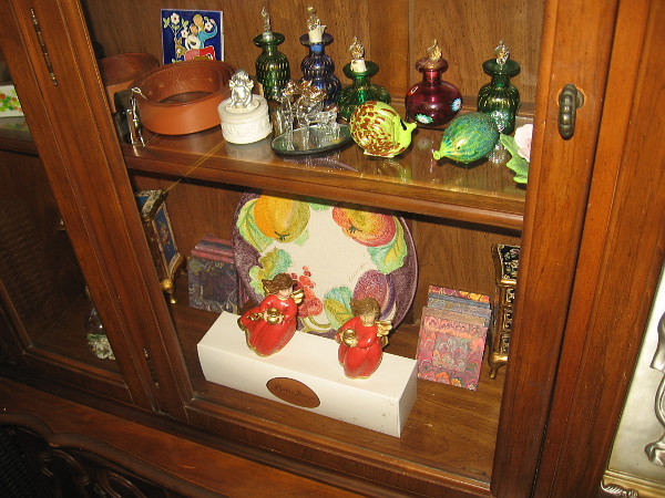 In a wooden cabinet I spied colorful gifts and crafts imported from Italy.