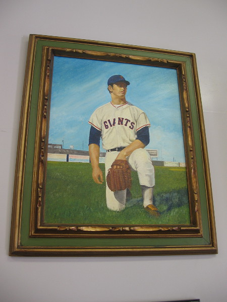 Painting of John D'Acquisto, Italian American baseball player who played four years with the San Diego Padres.