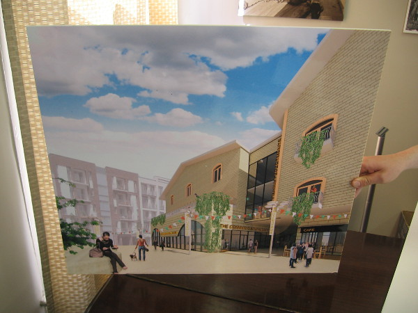I'm shown a rendering of a proposed, much larger cultural center that might be built by The Convivio Society elsewhere in Little Italy.