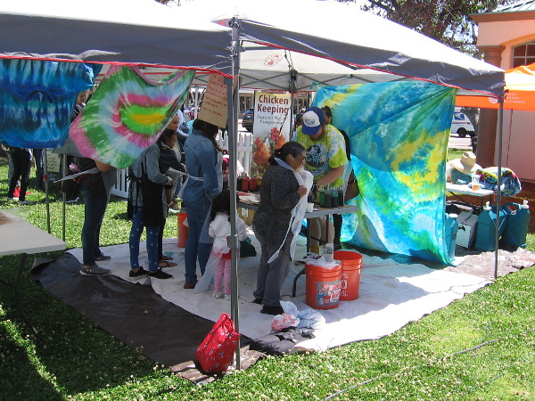 Activities at South Bay Earth Day include making art. I enjoyed seeing neighbors creating colorful tie-dye!