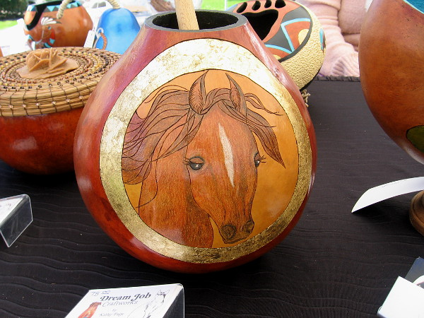 This work of art created from a gourd was one of many amazing pieces from Dream Job Craftworks by Kathy Page.