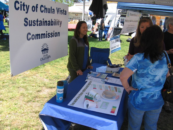 The City of Chula Vista Sustainability Commission had a table and interested visitors.