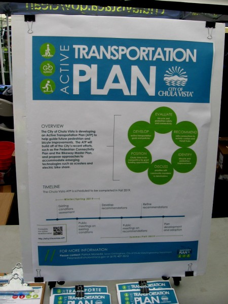 Sign explains how the City of Chula Vista is developing an Active Transportation Plan to help guide future pedestrian and bicycle improvements.