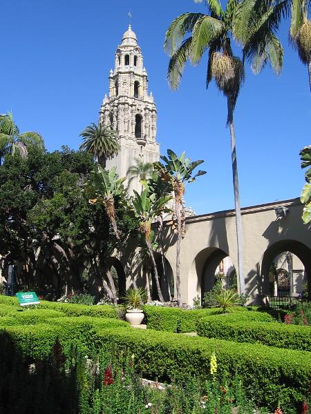 Gazing back toward the California Tower from the Alcazar Garden.