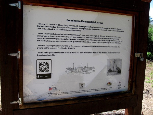 Sign at the Bennington Memorial Oak Grove describes one of the Navy's worst peacetime disasters, which took place in 1905 on San Diego Bay. Sixty six live oaks were planted to honor the victims of the USS Bennington boiler explosion.