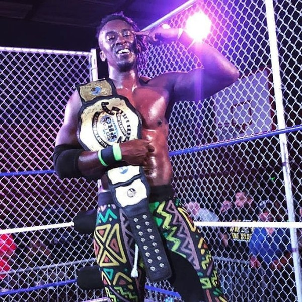 Ju Dizz becomes SoCal Pro Wrestling Heavyweight Champion. (Photo courtesy @ju_dizz)
