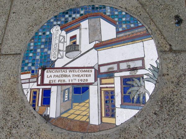 Tile mosaic depiction of the historic La Paloma Theatre building in Encinitas.