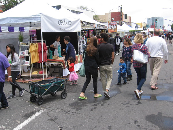 At this very popular festival in North Park, people steered their feet past food, vendors, and a happy crowd of art-loving neighbors.