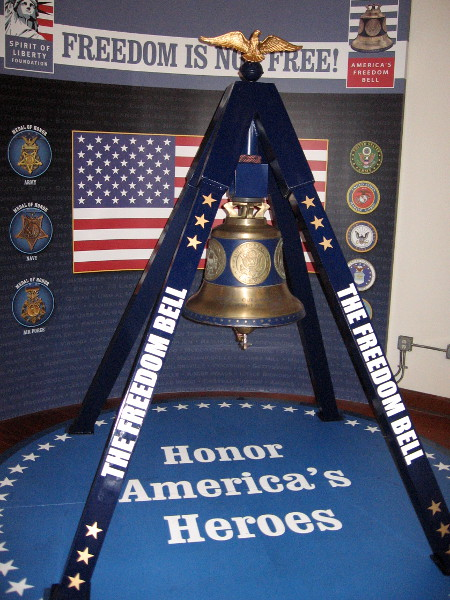 The Freedom Bell honors America's heroes from all branches of the military. The bell was cast from metal from the Twin Towers that fell on 9/11.