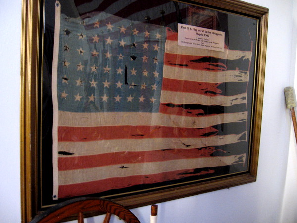 First U.S. Flag to Fall in the Philippines. Baguio, 1942. A symbol of freedom.