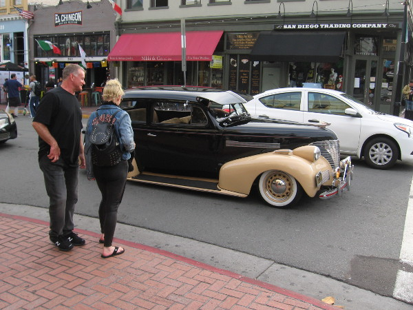 Checking out a cool classic car in the Gaslamp.