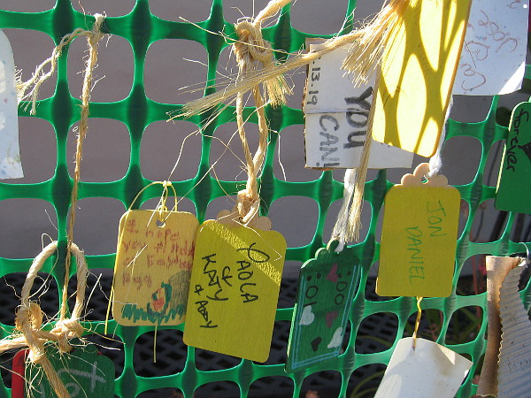 Many messages of love from many different hands, young and old.