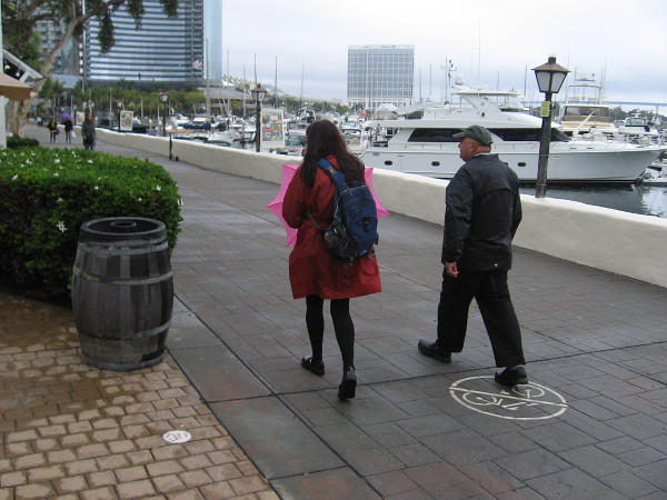 An umbrella is at the ready near the Marriott Marina.