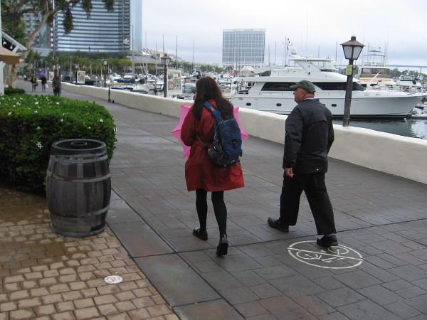 An umbrella is at the ready near the Marriott Marina.