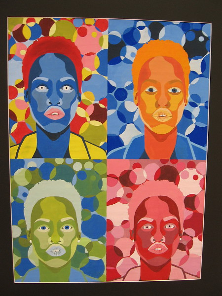 Jeryn Young, Pop Art Portraits, 2019. Tempera paint on paper. Grade 11, Mission Bay High School.