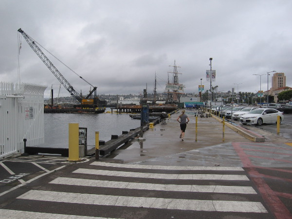 Few were walking or running along the wet, chilly Embarcadero.