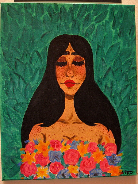 Lady of the Garden, Veronica McFarland, acrylic. San Diego School of Creative and Performing Arts.