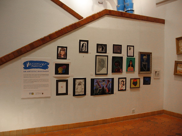 A wall inside the San Diego History Center in Balboa Park features art created by students in local high schools.