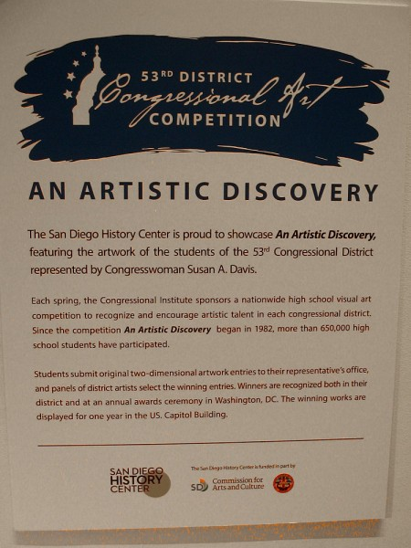 An Artistic Discovery is an exhibition that showcases the artwork of students in the 53rd Congressional District. Winning works are displayed in the U.S. Capitol Building.