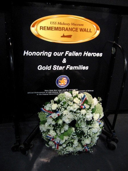 A wreath for Memorial Day weekend. USS Midway Museum Remembrance Wall. Honoring our Fallen Heroes and Gold Star Families.