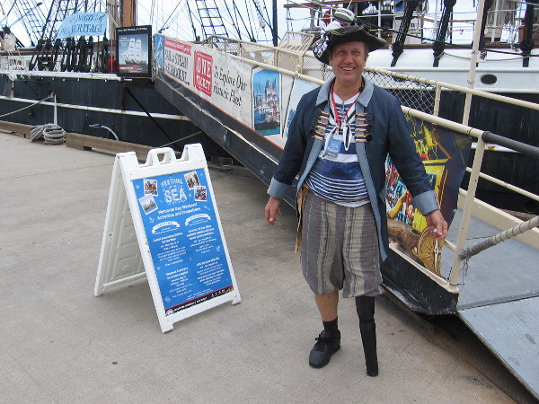 A friendly guy with a wooden leg welcomes me aboard Star of India for the new waterfront event, Festival of the Sea!