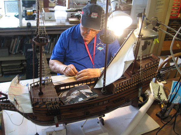 The Maritime Museum of San Diego's unique Model Shop is busy during the festival.