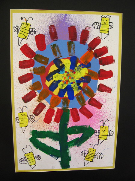 Trinity Covarrubias-Burns, Bees and Bloom, 2019. Construction paper, marker and tempera on paper. Kindergarten, Vista Grande Elementary School.