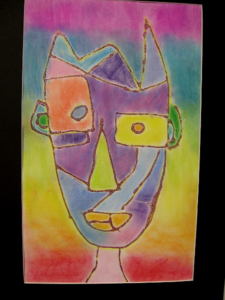 Jessie Hsu, Abstract Face in Glitter, 2019. Pastel and glitter glue on paper. Grade 2, E. B. Scripps Elementary School.