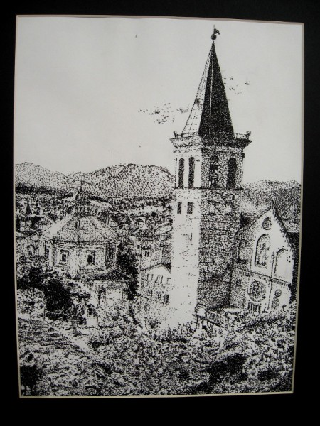 Jaime Barrozo, The Steeple, 2019. Black ink Pointillism on paper. Grade 8, Correia Middle School.