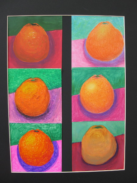 Leigh Archibald, Orange, 2019. Multiple mediums on paper. Grade 12, La Jolla High School.