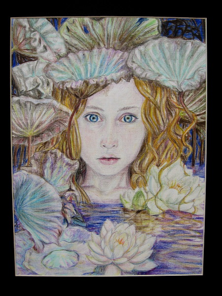 Lillian Robinson, Silence of the Lilies, 2019. Colored pencil on textured paper. Grade 11, Mission Bay High School.