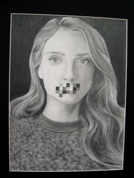 Kelsey Amann, Censored, 2019. Graphite pencil on paper. Grade 11, Mission Bay High School.