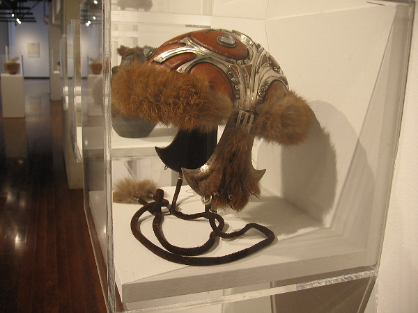 Helmet, 1970-71, silver, leather, rosewood, moonstones, rabbit fur. Marcia Lewis.