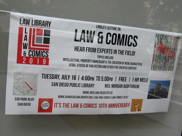 The 2019 Lindley Lecture on Law and Comics will take place at the San Diego Public Library on the Tuesday of Comic-Con week.
