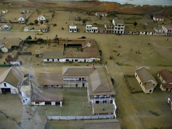 Inside the Robinson-Rose House visitors can see a large model behind glass. It shows what Old Town San Diego looked like in 1872.