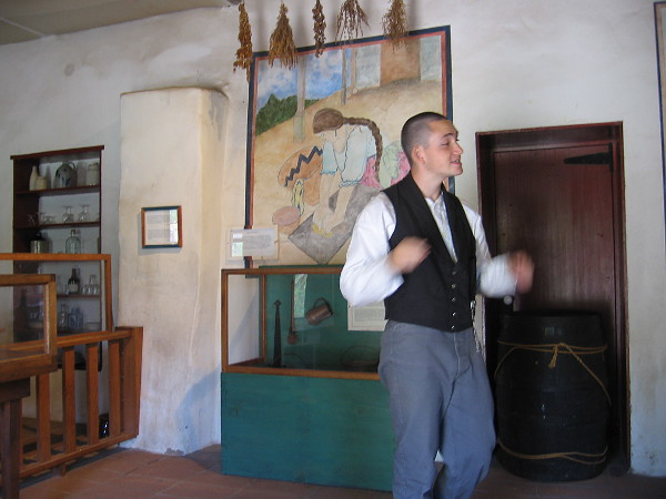 Our tour guide talks about tiny San Diego during the Mexican rancho period. Trade goods were acquired from merchant ships in exchange for cattle hides, which were called California Banknotes.